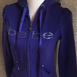 Bebe Purple Rhinestone Hooded Zip Up Jacket Small